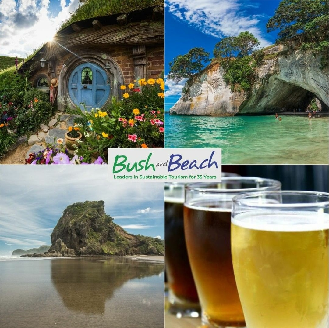 B&B logo with four photos - Hobbiton, two rock formations by the water, and beer