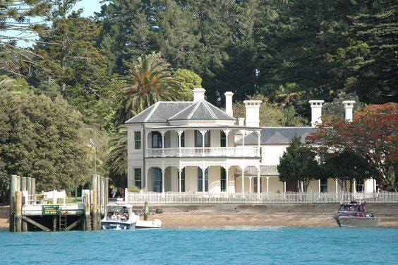 View across water to Mansion House on Kawau Island