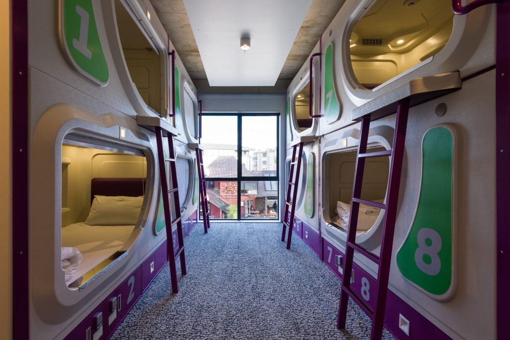 room with pod style beds