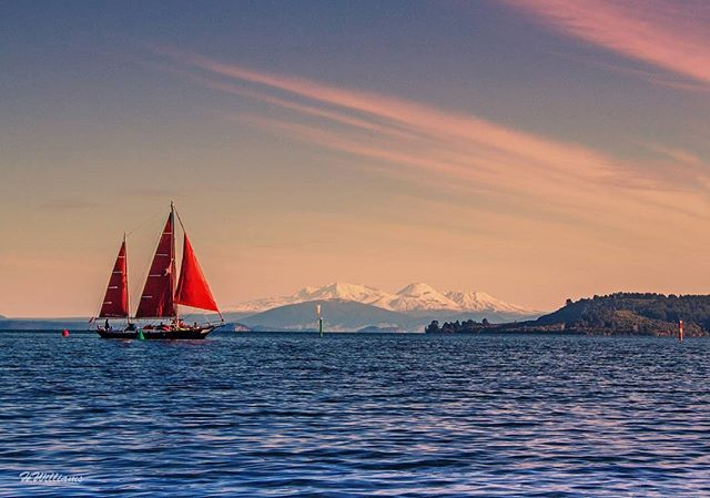 Sail boat the Sail Fearless on Lake Taupō