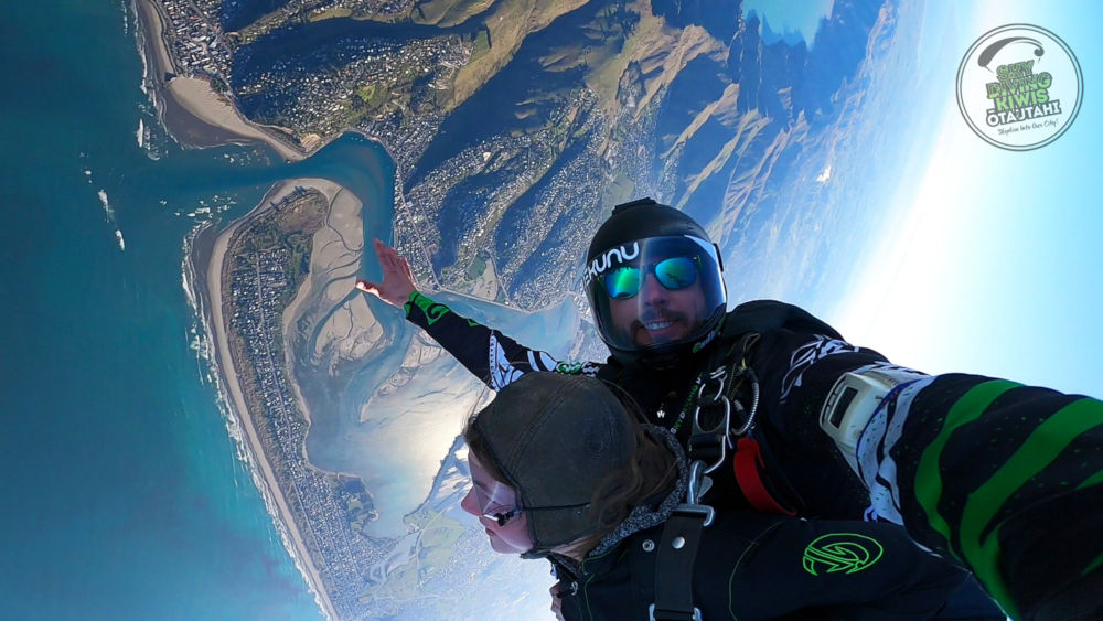Tandem skydivers above Christchurch