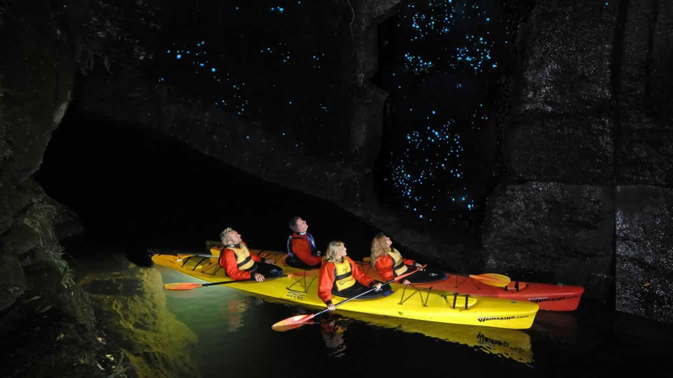 Two double kayaks with occupants looking up at glowworms